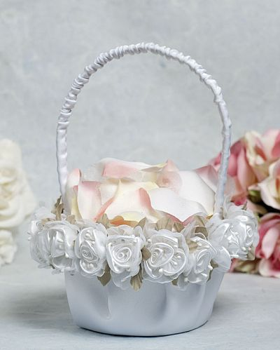 Satin and Organza Rose Plush Wedding Flowergirl Basket
