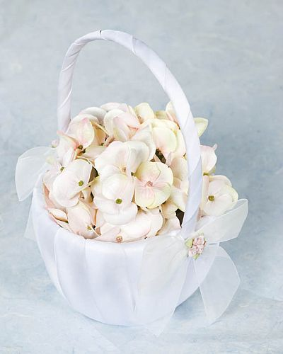 Porcelain Rose Bouquet Wedding Flowergirl Basket