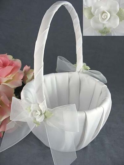 White Rose Wedding Flowergirl Basket