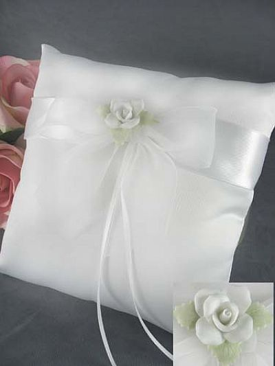 White Rose Wedding Ring Bearer Pillow