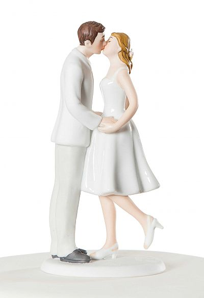 "Adorable ""Leg Pop"" Wedding Bride and Groom Figurine"