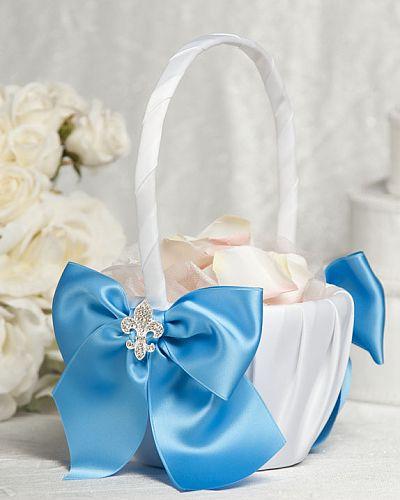 Fleur de Lis Ribbon Flower Girl Basket
