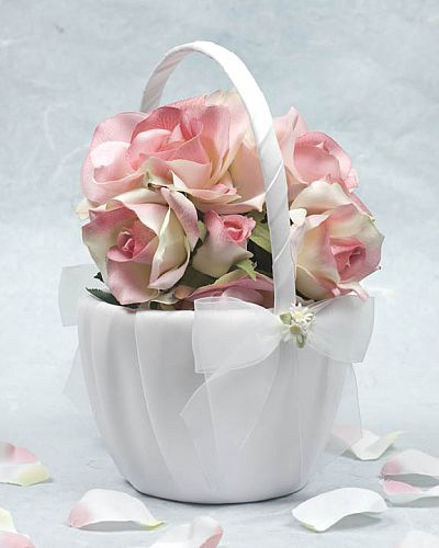 Porcelain Daisy Bouquet Wedding Flowergirl Basket