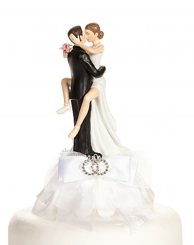 Funny Sexy Rhinestone Wedding Rings Cake Topper