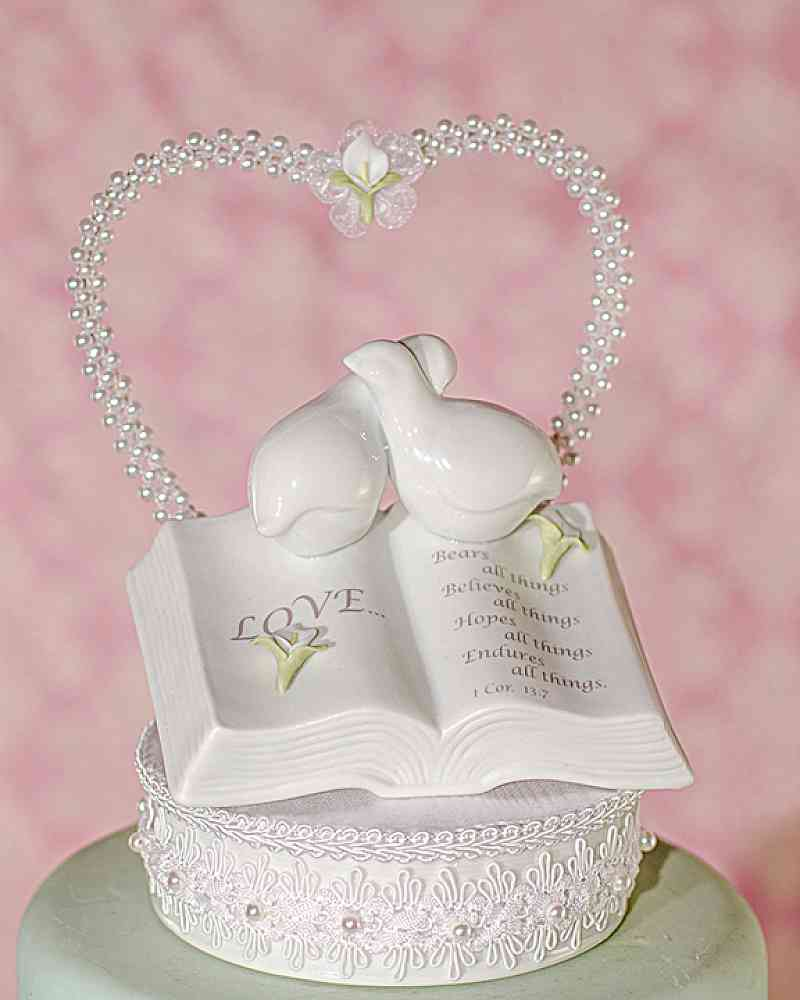 Love Verse Bible Cake Topper with Doves and Calla Lily Accents