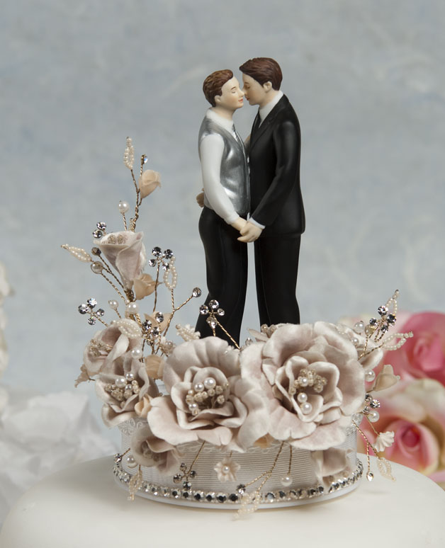 Crystal Romance Gay Wedding Cake Topper