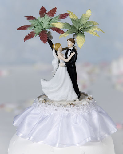 Hawaiian Beach White Cake Topper