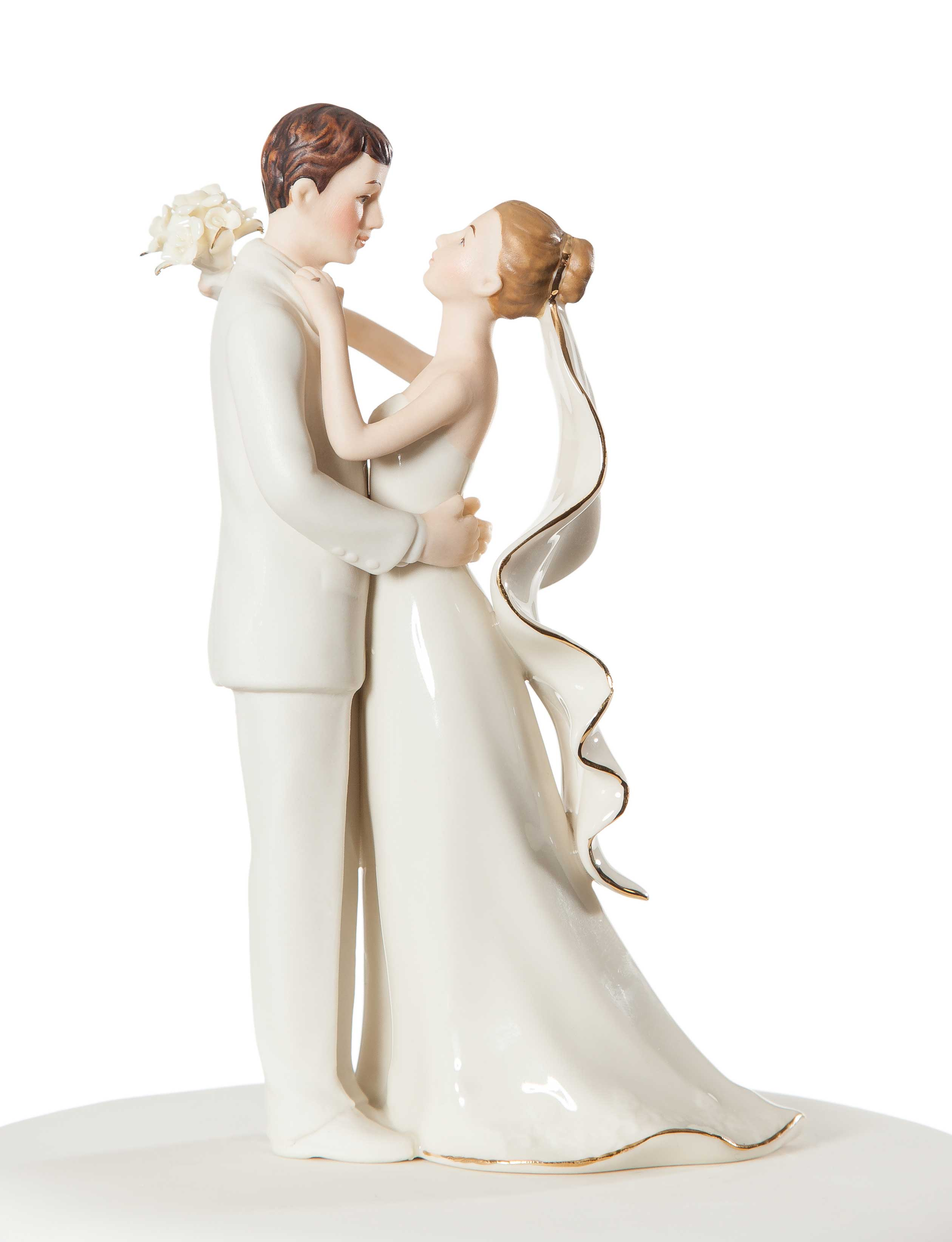 f White Porcelain Bride and Groom Wedding Cake Topper
