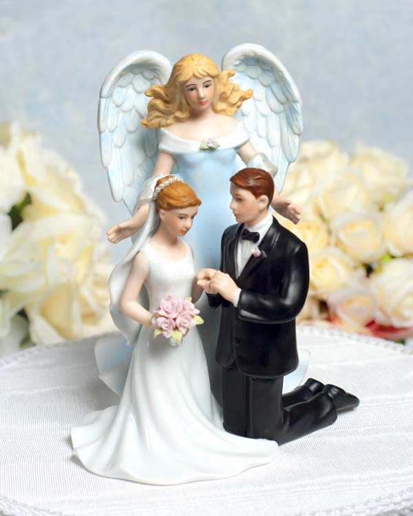 guardian love angel with kneeling wedding couple
