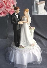 Rose Garden Wedding Cake Topper with Bride and Groom