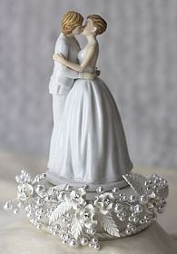 Romance Gay Rose Pearl Cake Topper
