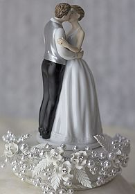 """Romance"" Rose Pearl Wedding Cake Topper"