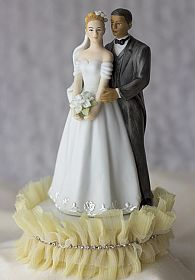 Tulle and Rhinestones Elegant Interracial Wedding Cake Topper