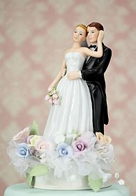 Pastel Rose Bride and Groom Cake Topper