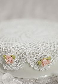 Cute Doily and Rose Porcelain Base