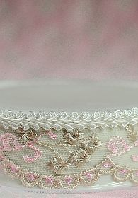 French Pink and Brown Lace Porcelain Base