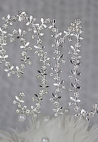 Small Crystal Vine Monogram Initial Cake Topper