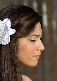 Satin and Crystals Flower Comb