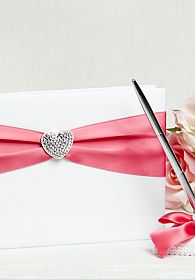 Crystal Heart Ribbon Guestbook