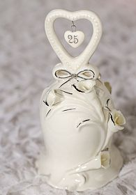 25th Anniversary Wedding Bell Figurine
