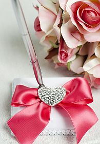 Crystal Heart Ribbon Pen