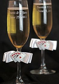 """Taking a Gamble"" Wedding Toasting Glasses"