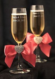 Crystal Heart Ribbon Toasting Glasses