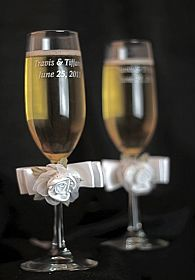 Satin and Organza Rose Plush Toasting Glasses