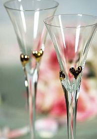 Crystal Elegance Heart Wedding Toasting Glasses