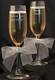 Rhinestone Rings Wedding Toasting Glasses