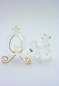 Glass Cinderella Pumpkin Coach Cake Topper With Horse