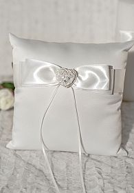 Rhinestone Pearlized Heart Rose Bouquet Wedding Ring Bearer Pillow