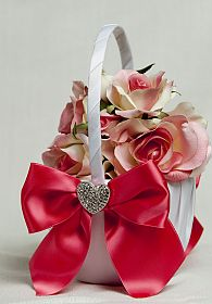 Crystal Heart Ribbon Flower Girl Basket