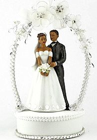 African American Sweet Flower and Crystal Arch Wedding Cake Topper