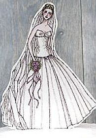 Ballroom Beauty Paper Doll Bride Wedding Cake Topper