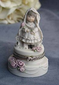 "Kim Anderson's Pretty as a Picture ® ""Promises of Love"" Bride Wedding Ring Box Cake Topper Figurine"