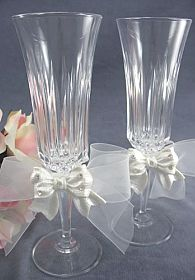 Rhinestone Pearlized Bow Wedding Toasting Glasses