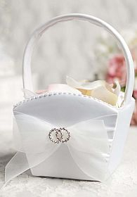 Rhinestone Rings Wedding Flowergirl Basket