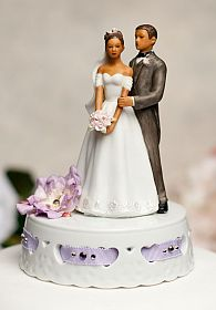 African American Ribbon Accent Wedding Cake Topper - Custom Colors!