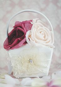 French Rhinestone Lace Flower Girl Basket