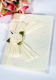 White Rose Bow Natural Paper Wedding Thank You Note Card