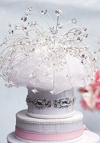 Alluring Crystal Spray Wedding Cake Topper with Swarovski Crystal