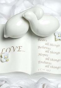 Love Verse Bible with Doves and Hydrangea Accents Wedding Cake Topper