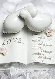 Love Verse Bible with Doves and Rose Accents Wedding Cake Topper