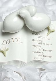 Love Verse Bible with Doves and Calla Lily Accents Wedding Cake Topper