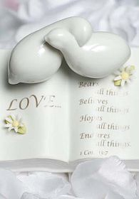 Love Verse Bible with Doves and Daisy Accents Wedding Cake Topper