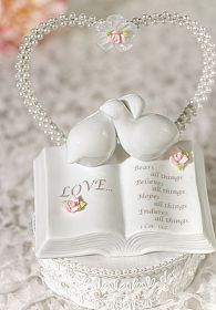 Love Verse Bible Cake Topper with Doves and Rose Accents