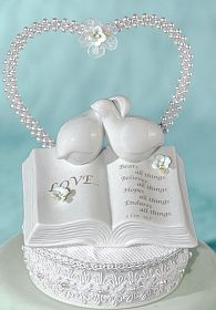 Love Verse Bible Cake Topper with Doves and Hydrangea Accents