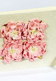Four Rose Natural Paper Wedding Guestbook - Pink - Burgandy - Off White - Peach