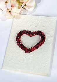 Heart Natural Paper Wedding Thank You Note Card - Burgundy - Pink - Off White - Lavender